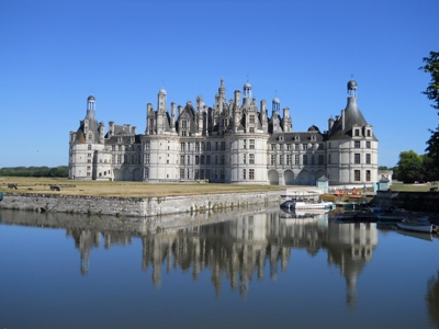 Chambord Castle with blue sky